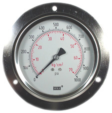 "WIKA Panel Mount Gauge 4"", 1000 PSI, Liquid Filled"