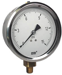 "WIKA Industrial Pressure Gauge 4"", 15 PSI, Liquid Filled"