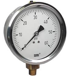 "WIKA Industrial Pressure Gauge 4"", 60 PSI, Liquid Filled"