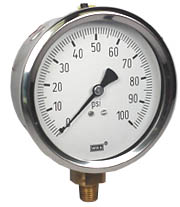 "Industrial Pressure Gauge 4"", 100 PSI, Liquid Filled"