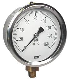 "WIKA Industrial Pressure Gauge 4"", 160 PSI, Liquid Filled"