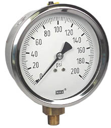 "WIKA Industrial Pressure Gauge 4"", 200 PSI, Liquid Filled"