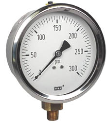 "Industrial Pressure Gauge 4"", 300 PSI, Liquid Filled"
