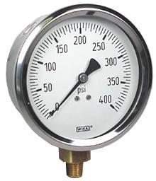 "WIKA Industrial Pressure Gauge 4"", 400 PSI, Liquid Filled"