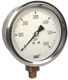 "WIKA Industrial Pressure Gauge 4"", 600 PSI, Liquid Filled"
