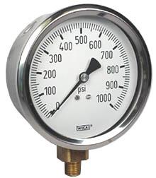 "WIKA Industrial Pressure Gauge 4"", 1000 PSI, Liquid Filled"
