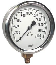 "WIKA Industrial Pressure Gauge 4"", 2000 PSI, Liquid Filled"