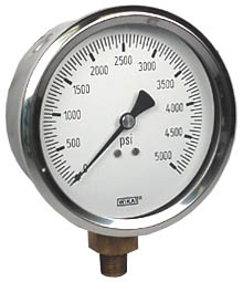 "WIKA Industrial Pressure Gauge 4"", 5000 PSI, Liquid Filled"