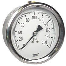 "WIKA Stainless Steel Pressure Gauge 4"", 200 PSI"
