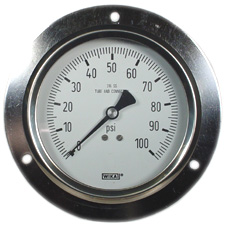 """Front Flange Panel Mount Stainless Gauge 4"""", 100 PSI"""