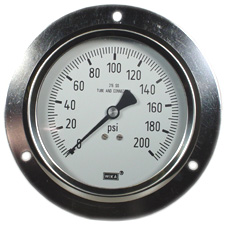 """WIKA Front Flange Panel Mount Stainless Gauge 4"""", 200 PSI"""