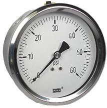 "WIKA Stainless Steel Pressure Gauge 4"", 60 PSI, Liquid Filled"