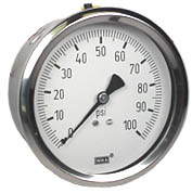 "WIKA Stainless Steel Pressure Gauge 4"", 100 PSI, Liquid Filled"
