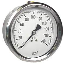 "WIKA Stainless Steel Pressure Gauge 4"", 200 PSI, Liquid Filled"