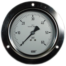 """WIKA Front Flange Panel Mount Stainless Gauge 4"""", 60 PSI, LF"""