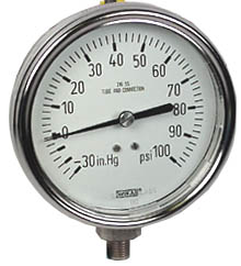 """WIKA Stainless Compound Gauge 4"""", 30""""Hg-0-100 PSI"""