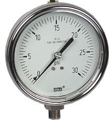 """WIKA Stainless Steel Pressure Gauge 4"""", 30 PSI"""