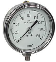 """WIKA Stainless Steel Pressure Gauge 4"""", 160 PSI"""