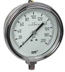 "Stainless Steel Pressure Gauge 4"", 200 PSI"
