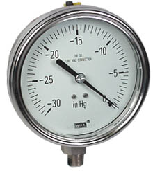 "Stainless Steel Vacuum Gauge 4"", 30"" Hg, Liquid Filled"