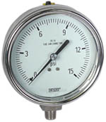 "WIKA Stainless Steel Pressure Gauge 4"", 15 PSI, Liquid Filled"