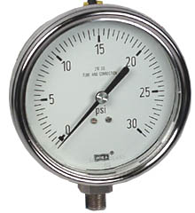 "WIKA Stainless Steel Pressure Gauge 4"", 30 PSI, Liquid Filled"