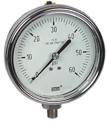 "WIKA Stainless Steel Pressure Gauge 4"", 60 PSI, Liquid Filled"
