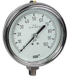"WIKA Stainless Steel Pressure Gauge 4"", 100 PSI, Liquid Filled"