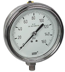 "WIKA Stainless Steel Pressure Gauge 4"", 160 PSI, Liquid Filled"