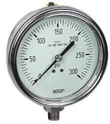 """Stainless Steel Pressure Gauge 4"""", 300 PSI, Liquid Filled"""