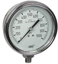 "WIKA Stainless Steel Pressure Gauge 4"", 1000 PSI, Liquid Filled"