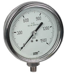 "Stainless Steel Pressure Gauge 4"", 1500 PSI, LF"