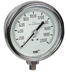 """WIKA Stainless Steel Pressure Gauge 4"""", 2000 PSI, LF"""