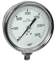 """Stainless Steel Pressure Gauge 4"""", 3000 PSI, LF"""