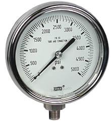 """WIKA Stainless Steel Pressure Gauge 4"""", 5000 PSI, LF"""