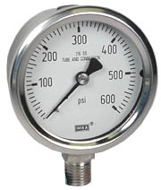 "Stainless Steel Pressure Gauge 2.5"", 600 PSI"