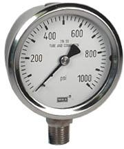 """Stainless Steel Pressure Gauge 2.5"""", 1000 PSI"""