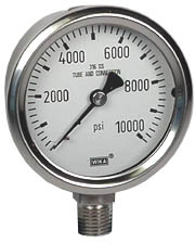 "WIKA Stainless Steel Pressure Gauge 2.5"", 10,000 PSI"