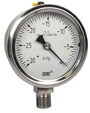 """Stainless Steel Vacuum Gauge 2.5"""", 30"""" Hg, LF"""