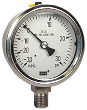 "WIKA Stainless Compound Gauge 2.5"", 30""Hg-0-30 PSI, LF"