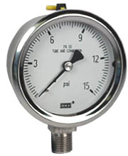 "Stainless Pressure Gauge 2.5"", 15 PSI, Liquid Filled"