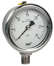 "WIKA Stainless Pressure Gauge 2.5"", 30 PSI, Liquid Filled"