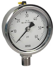 "WIKA Stainless Pressure Gauge 2.5"", 60 PSI, Liquid Filled"