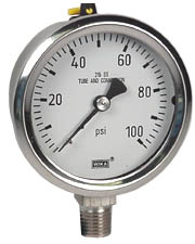 "WIKA Stainless Pressure Gauge 2.5"", 100 PSI, Liquid Filled"