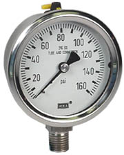"WIKA Stainless Pressure Gauge 2.5"", 160 PSI, Liquid Filled"