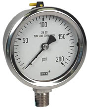 "WIKA Stainless Pressure Gauge 2.5"", 200 PSI, Liquid Filled"