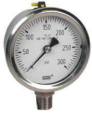 "WIKA Stainless Pressure Gauge 2.5"", 300 PSI, Liquid Filled"