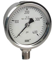 "Stainless Pressure Gauge 2.5"", 400 PSI, Liquid Filled"