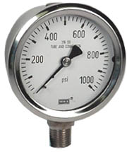 "WIKA Stainless Pressure Gauge 2.5"", 1000 PSI, Liquid Filled"