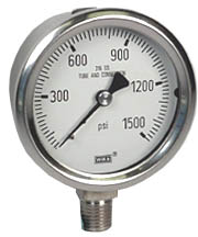 "Stainless Pressure Gauge 2.5"", 1500 PSI, Liquid Filled"